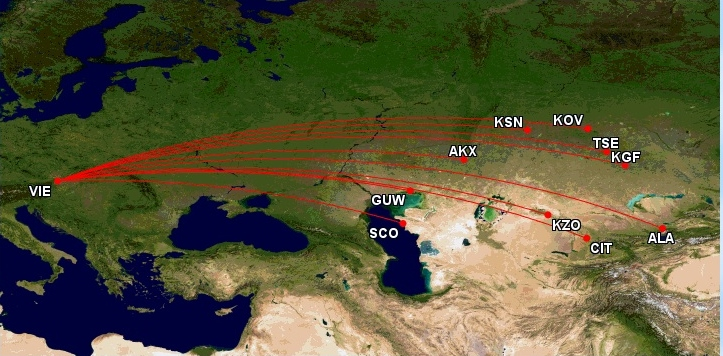 Trasy Transaero z Viedne do Kazachstanu